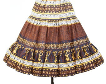 1950s Circle Skirt // South American Ethnic Novelty Print Tiered Full Skirt