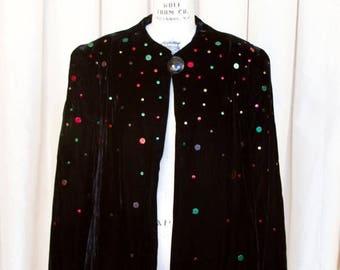 WEEKEND SALE 1940s Jacket // Studded Black Velvet Old Hollywood Glamour Evening Jacket