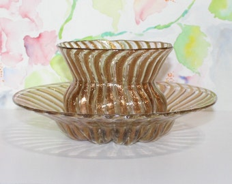 Vintage, Set of 2, Gold / Copper Swirl Striped Bowls