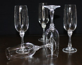 Pretty Vintage, Set of 5, Fluted, Multi Sided, Wafer Stem, Champagne Glasses