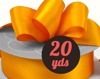 "Satin Tangerine Orange Ribbon - 7/8"" wide at 20 yards"