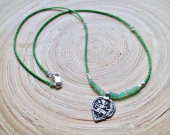 """Hanuman necklace with chrysoprase and tiny green beads yoga jewelry good luck necklace 20"""""""