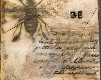 Encaustic Mixed Media Small Art Text Word Play Bee Keeper