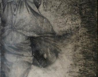 Encaustic Mixed Media Original Art Waiting For Me Lonely Lady Black Gray 7.5 x 11.75