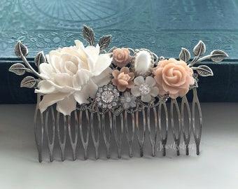 Pink Hair Comb Bridal Hair Pin Wedding Hair Adornment Pastel Blush Tea Rose Silver Hair Slide Romantic Bride Bridesmaid Maid of Honor Gift