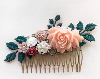Pink Bridal Comb Blush Maroon Wine Red Teal Green Wedding Hair Comb Leaf Flower Soft Pastel Romantic Woodland Headpiece for Bride Customize