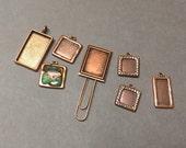 Destash Lot of Antique Copper Frames. Bezels. Blanks. Settings. Assorted Sizes. Seven (7).