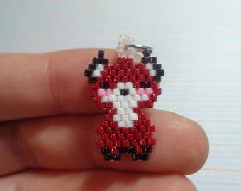 Fox charm, beaded fox, fox keychain, beaded keychain, beaded charm, fox charm, fox keychain, peyote stitch, beaded charm animal, cute fox
