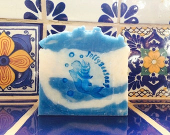 """Hand Milled Goats Milk Soap scented in """"Cool Water"""" type with Mermaid Stamp. A must have for your man."""