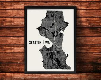 Seattle Map Art Print   Seattle Print   Seattle Art Print   Seattle Poster   Seattle Gift   Wall Art