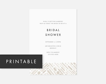 Simple Printable Invitations / Minimalist Modern Invite / Bold Pattern / Neutral Taupe / Bridal Shower, Baby Shower, Engagement Party