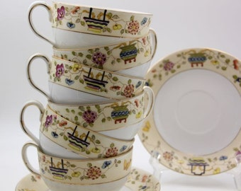 Antique Mandarin c. 1912 Noritake Nippon Cup and Saucer Fine China Flat Cup Coffee Tea Party #503