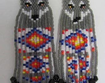 Hand Beaded  Grey Wolf with diamond fringe earrings
