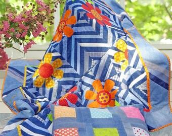 DENIM & DAISIES | pdf Quilt Pattern | Patterns | Quilts | Strip Quilts | Floral Quilts | Applique Quilts | Happy Quilts | Foundation Piecing
