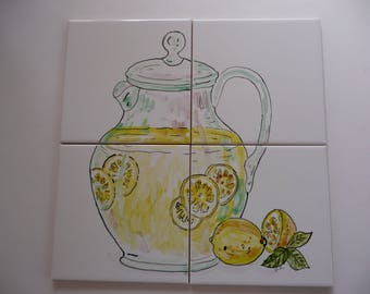 Lemonade Mural - handpainted tiles -12 x 12