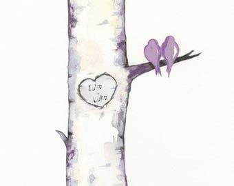 Birch Tree Love No. 7, Lavendar, love bird art, Lavendar, tree art, birch tree Wedding gift, Personalized gift, wall art