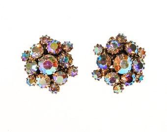 Aurora Borealis Rhinestone Earrings, Clip On, Gold Tone, Round, 1950s Era