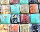 10pc Rustic Picasso beads MIX, 12mm Rectangle Swirls in Turquoise, Topaz, Red, Black, Carved czech glass beads - 12x11mm - 0571
