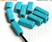 ON SALE Turquoise ceramic beads, Rectangle, Tube beads, long Greek Ceramic beads for leather cord, barrel - 17x6mm - 10pc - 2299