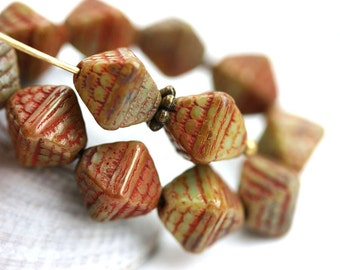 9mm Rustic Green Bicone beads, czech glass picasso beads, large bicones - 15Pc - 0312