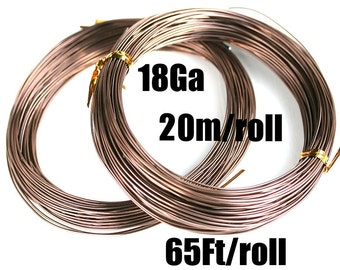 65Ft 18 Gauge wire, 1mm thick Taupe Aluminum Craft Wire, Light Brown Color, 20m roll, colored wire for jewelry making - LC103