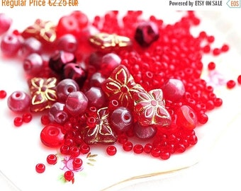 30%OFF SALE Red beads mix, Bead soup, czech glass, seed beads, butterfly beads, round spacers - 15gramm - 2349
