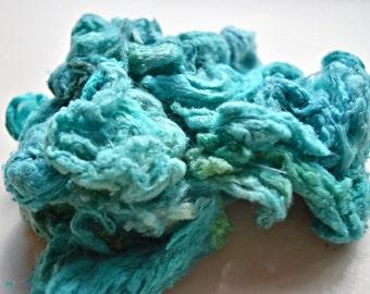 Aqua Mulberry Silk Noil needle felting silk spinning fibre arts carding blending  20 g .7 oz Aqua Blue 11787