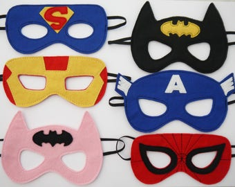 20 Batman Spiderman Iron Man or Bat Girl Superman Masks super hero Children's Mask Party bag filler favour Handmade and hand embroidered