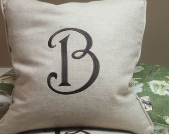 Reversible Beige Linen Pillow Cover with single letter monogram -20 x 20 - Self Corded with Invisible Zipper