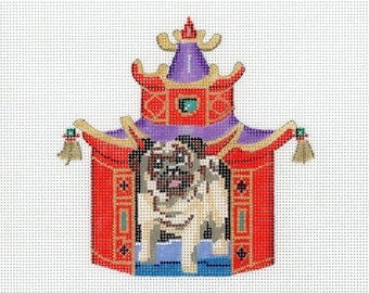 Hand Painted Needlepoint Pug Canvas - Tan, Brown, Red - Needlepoint Dog - Pug in Pagoda