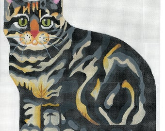 Hand Painted Needlepoint stuffed cat canvas - Grey Tabby front only