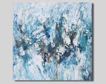 FREE SHIP abstract painting, blue painting, abstract expressionism, modern art, white, expressionist, diptych, painting set, 24x24