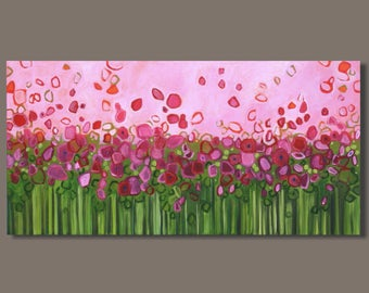 FREE SHIP abstract painting flowers, bold color, pink orange landscape, panoramic painting, floral botanical garden modern pop art on canvas