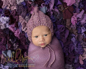 Newborn Hat,  Photo Prop, Tweed Bonnet, Purple Bonnet