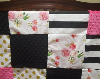 Rose Patchwork Baby Blanket- Roses, Gold Dot, Black Stripes, Black Minky, and Fuschia Minky