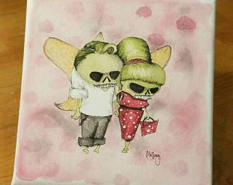 Rockabilly Zombie couple, low brow art zombies in love, brains, low brow art, original watercolor painting