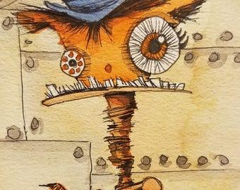 Atc Card, original, watercolor, ink, orange cat, steampunk, kitty
