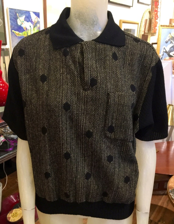 Vintage 1960s Men's Black and Yellow Ribbed Wool and Knit Pull Over Size Large