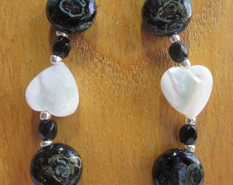 Holiday Sale Black, white and blue necklace with Picasso Czech glass and mother of pearl