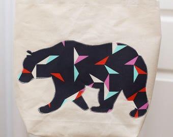 Canvas Tote - Wandering Bear appliqué