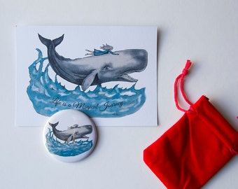 Whale Rider - Postcard and Mirror - Girl and a Whale - Stocking Filler - Beautiful Gift Set
