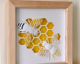 Honey Bees - Unique Paper Cut  - 3d Paper Sculpture - Giftware