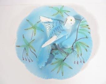 Vintage Turquoise Parakeet Wall Vase - Handpainted Relco Made in Japan Bird Wall Pocket Vase