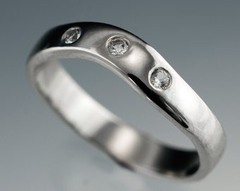White Sapphire Fitted Contoured Wedding Band in Palladium, Platinum, White Gold, Rose or Yellow Gold