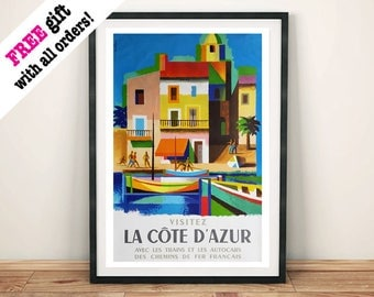LA COTE D'AZUR: Vintage Travel Poster, French Holiday Print