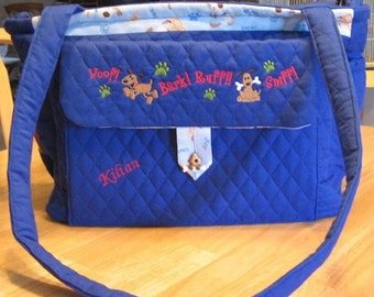 Personalized Diaper Bag Embroidered Puppies