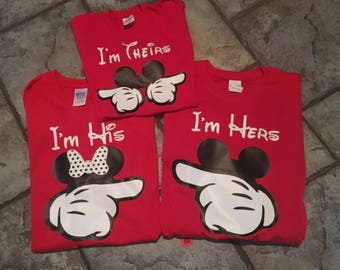 Disney family shirts, I'm his, I'm hers, I'm theirs onesies, tanks, t-shirts