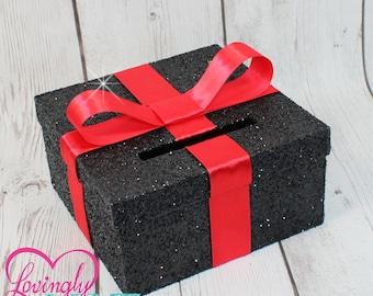 Mini Cards Box -  Size 8 x 8 x 4 - Red Ribbon & Glitter Black -  Advise Box, Game Box, Raffle Box - Baby Shower, Bridal Shower, Birthday