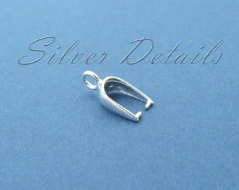 Small Sterling Silver Pinch Bail with Loop for Pendant Earrings with Swarovski Crystals Finding reference code B92S