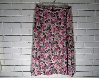 Vtg pink floral rayon button front skirt size M Petite